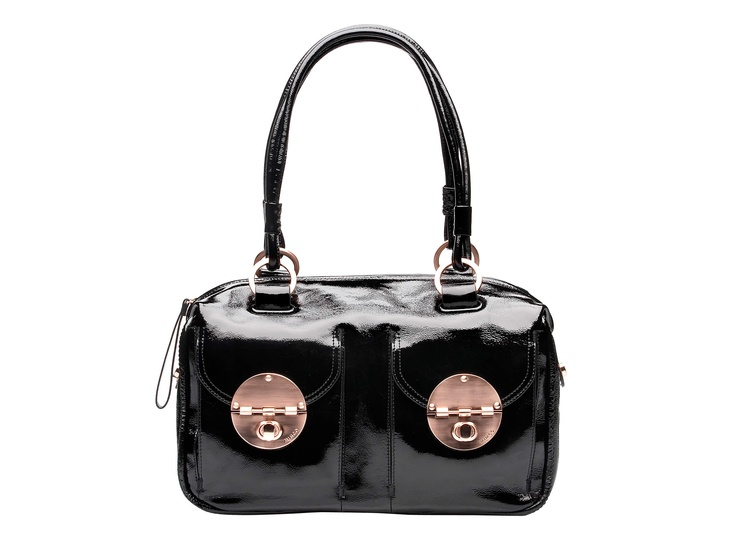Mimco Signature Turnlock Zip Top in Black Patent Leather - My partner bought me this bag for my birthday, god love him ;): Mimco Bag, Fashion, Patent Turnlock, Tops, Turnlock Zip, Mimco Muse, Bags, Rose Gold