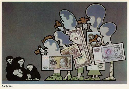 """João Abel Manta, Título: """"Turistas"""", obra de 1972. La Europa rica visita el atrasado Portugal y fotografía su pobreza y miseria."""