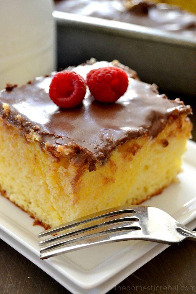 Get the recipe: Boston cream pie poke cake Image Source: The Domestic Rebel
