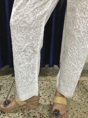 India Chikan White Hand Embroidered Chikankari Cotton Straight Pant :Elasticated Waistband