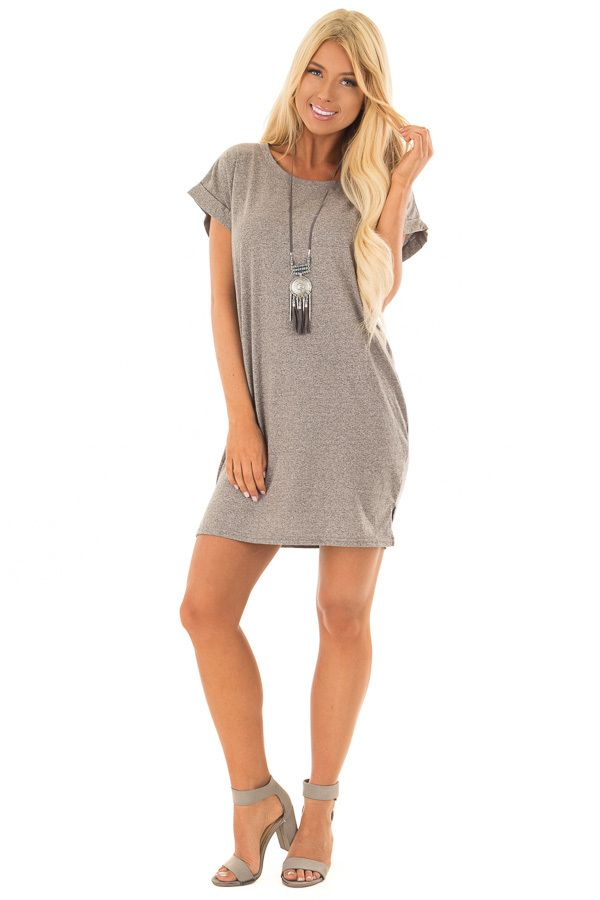 5ef0cdc1df5 Heather Grey Two Tone Tee Shirt Dress with Cuffed Sleeves front full body