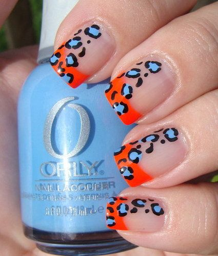 funky leopard!Colors Combos, Nails Art, French Manicures, Summer Nails, Nails Polish, Leopards Prints, Leopards Nails, Prints Nails, Cheetahs Prints