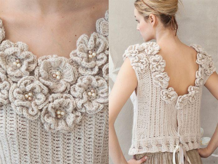 Crochet: neckline flowers: Crochet Fashion, Crochet Flower, Crochet Jacket,  Jammi, Crochet 2012, Crochet Tops, Vogue Knits,  Pyjama, Crochet Clothing