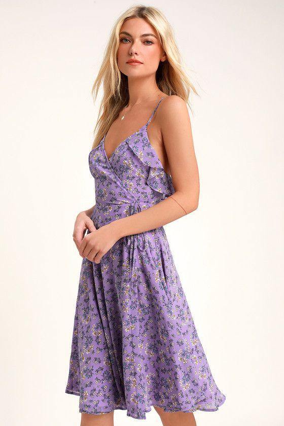 902eb15ab13e The Lulus Daisy Lane Purple Floral Print Surplice Midi Dress will put some