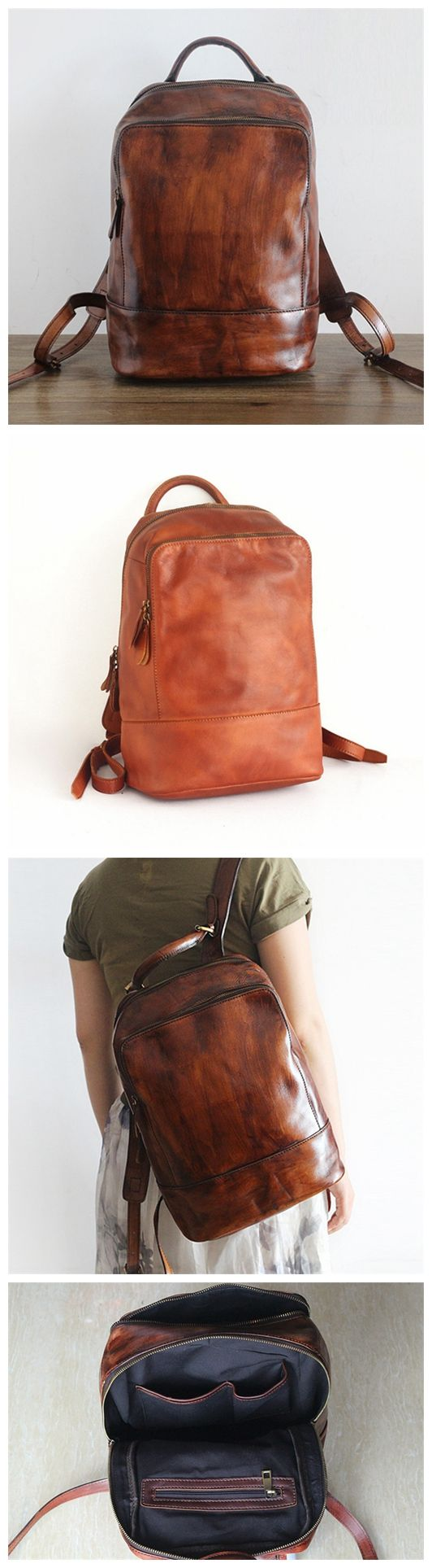 Hand Crafted LEATHER BACKPACK in Brown Color,Citi Rucksack with Zipper Lining Made of Full Grain Leather GS011