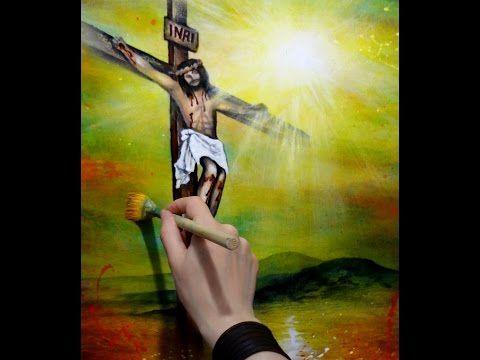 """Paso a paso de """"Sangre de Cristo"""" Obra de Diana Sandoval Pintura en Acrílico - YouTube"""