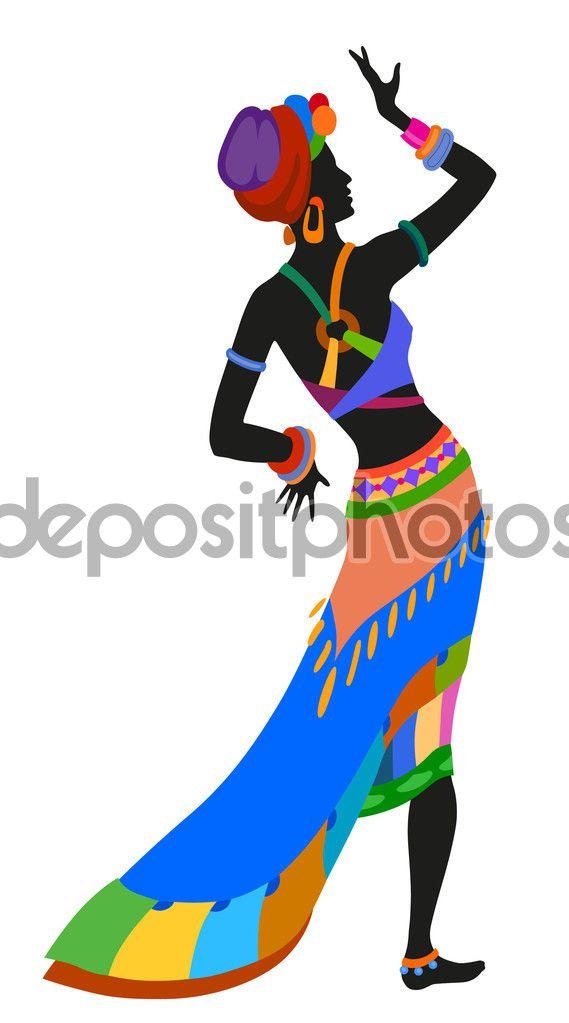 Mujer africana bailando danza ritual — Ilustración de stock #113982858