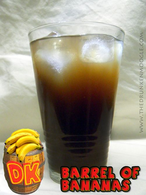 Barrel of Bananas (Donkey Kong cocktail)    Ingredients: ¾ shot of 99 Bananas ¾ shot of Coconut Rum  about ½ a highball glass of Root Beer about ½ a highball glass of  Fuze - Banana Colada    Directions: Throw some ice into a nice, large highball glass.  Pour in the ¾ shots of 99 Bananas and coconut rum.  Then, simultaneously pour in the Banana Colada Fuze and your favorite root beer evenly until it reaches the top of the glass.  Stir and enjoy.    (Original drink created by The Drunken…