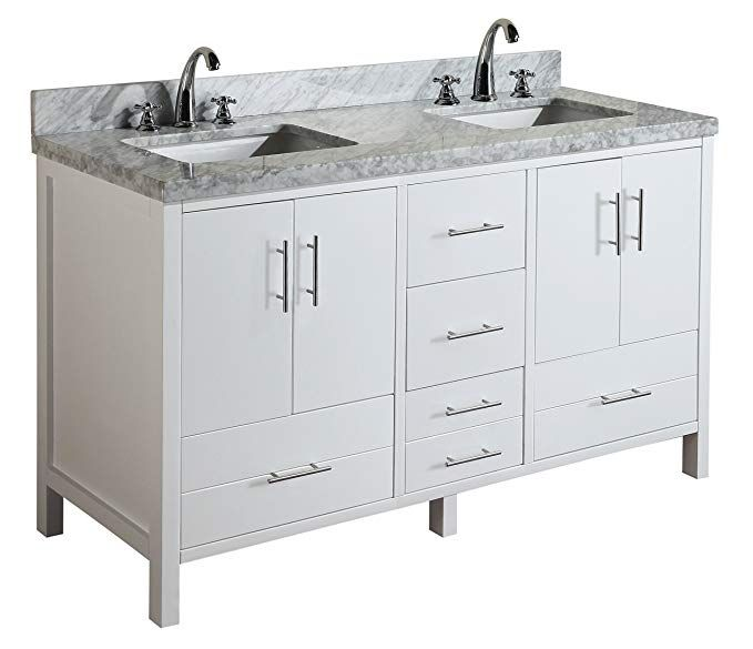 California 60 Inch Double Bathroom Vanity Carrara White