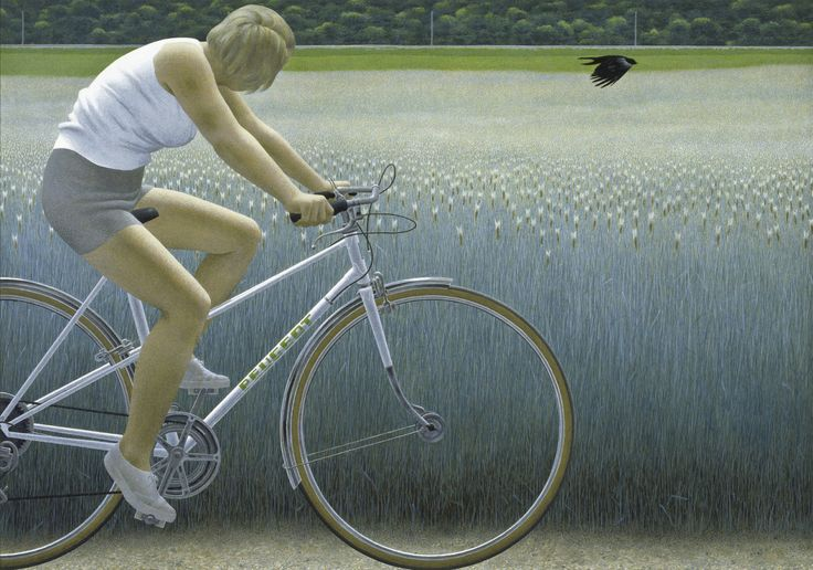 Alex Colville - Cyclist and Crow [1981] by Gandalf Via Flickr: [Montreal Museum of Fine Arts - Acrylic on hardboard, 70.6 x 100 cm]