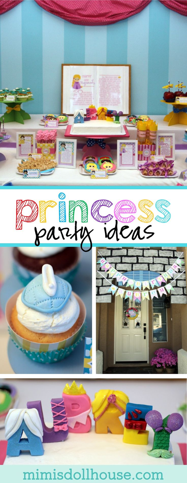 Princess Party: Aubrey's 4th Birthday Storybook Celebration (Part 1).  Bibbity Bobbity Boo!  How about a Storybook Princess Party?  I'm sharing the first part of my Disney inspired princess birthday party today.  Be sure to check out the Castle Tutorial, Crown Tutorial, Princess Party Activities and Storybook Tutorial that coordinate with this design. via @mimisdollhouse