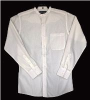 Men's pearl snap antique White banded collar shirt