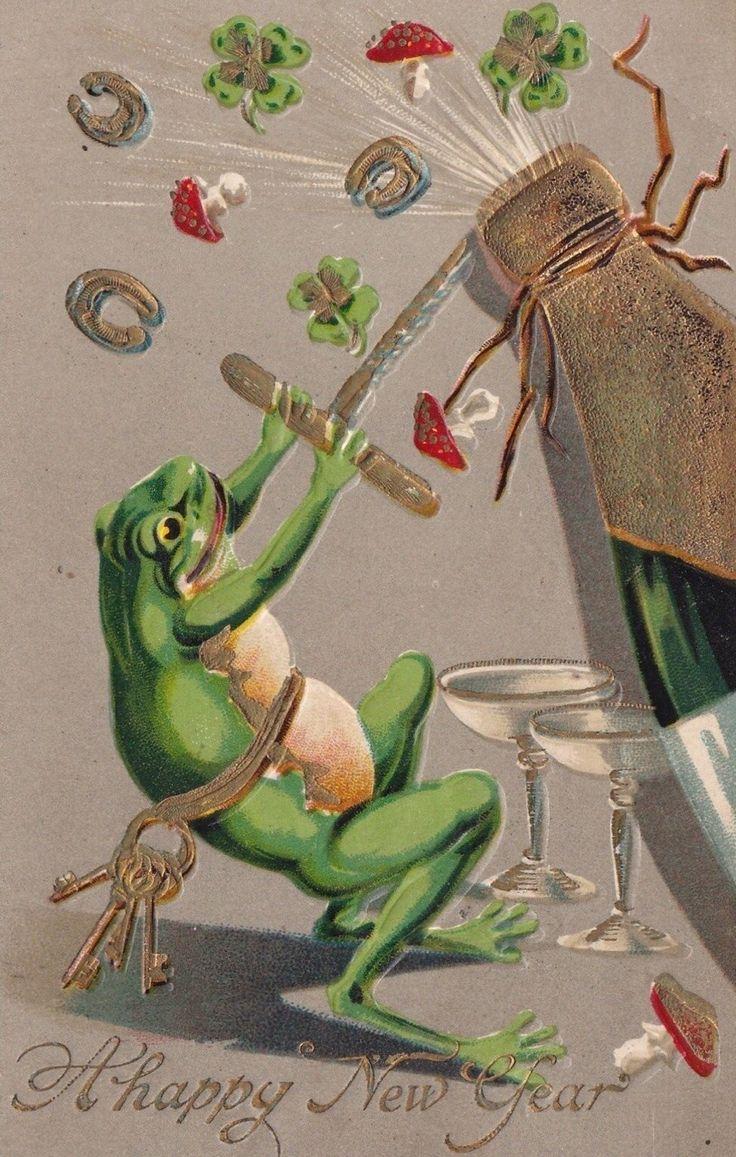 Винтажные открытки лягушки, картинки про кошек