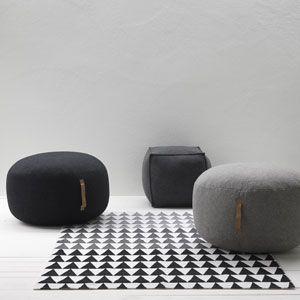Pouf rond en laine et poignées cuir (par 2) Hübsch gris clair : Decoclico 240 les 2