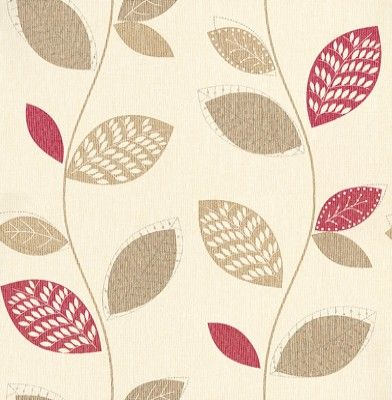 Albany Collage (201076) - Albany Wallpapers - A fresh floral stylised leaf trail with metallic silver highlights. Showing in red and beige on a cream background - more colours are available. Please request a sample for true colour match.