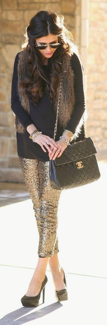 Gold sequin leggings & fur vest.