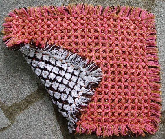 #Vintage Reversible Square #Seat #Pad   Crochet by #VintageHomeStories #Pillow #HomeDecor
