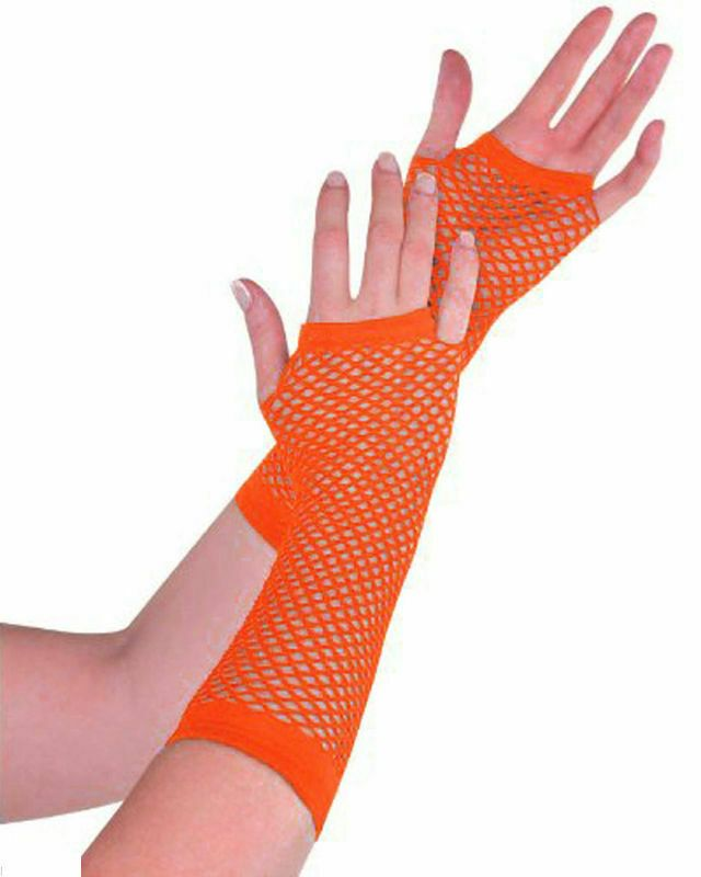 80s Long Neon Net Fingerless Gloves Halloween Fancy Dress Party Accessory