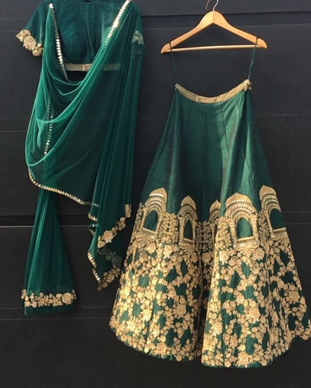 Instagram. Traditional wear. India. Desi wear. Bottle green.