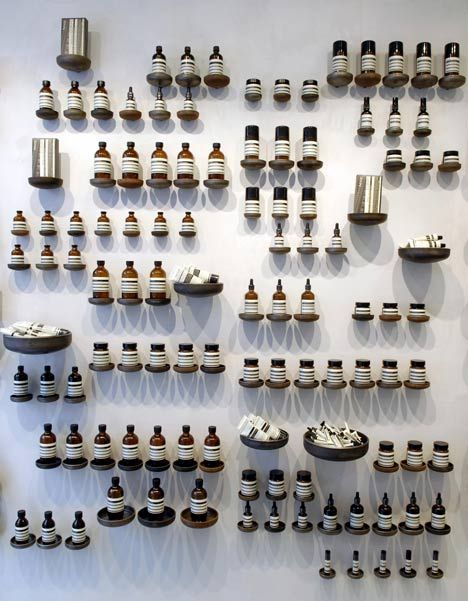 Impressive use of wall space & creative shelving. (What's in the bottles?) Aesop.com