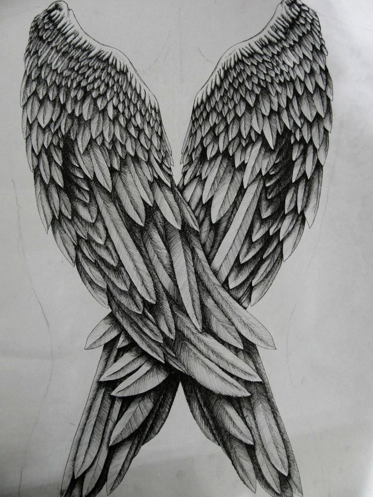 how to draw angel wings on a heart