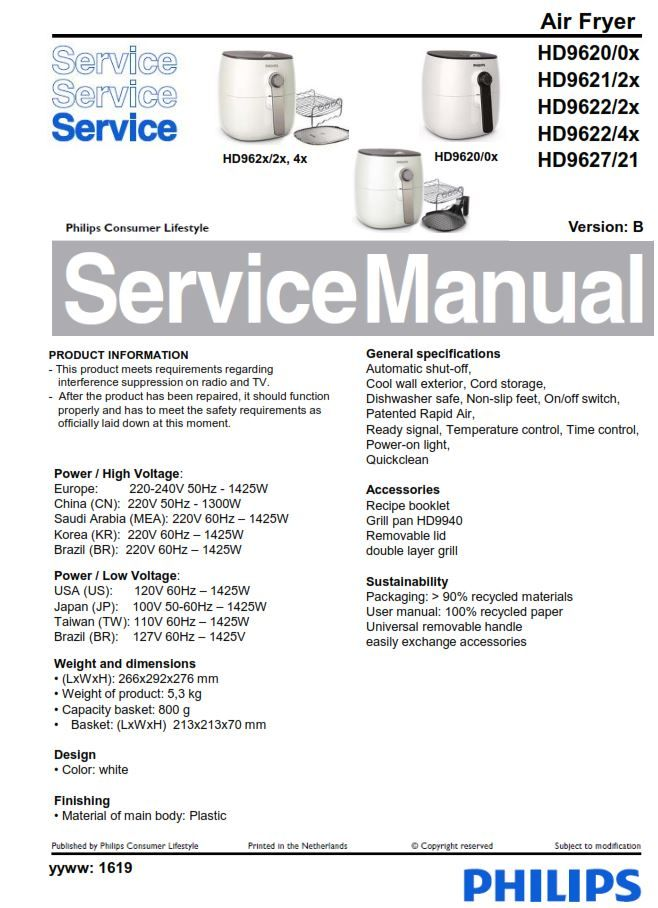 Philips Airfryer Hd9620 Hd9621 Hd9622 Hd9627 Service Manual Free Download Philips Manual Free Download