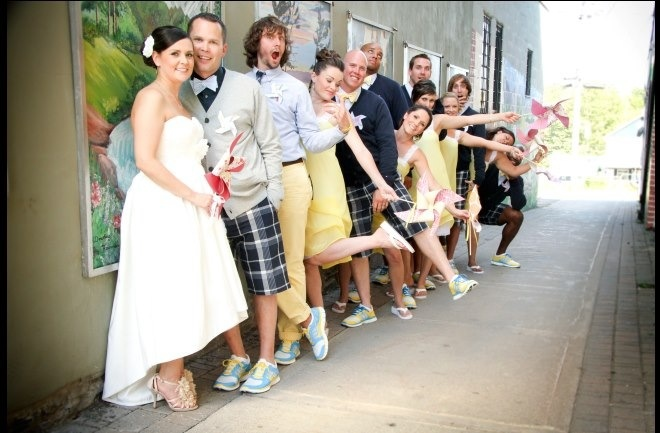 Our goofy wedding party