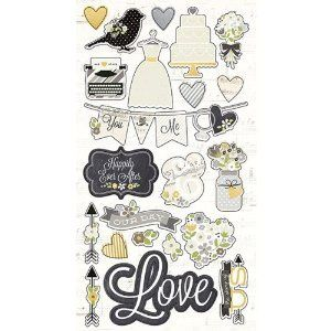 Simple Stories The Story of Us Chipboard Wedding Scrapbook Embellishments - 11 Main