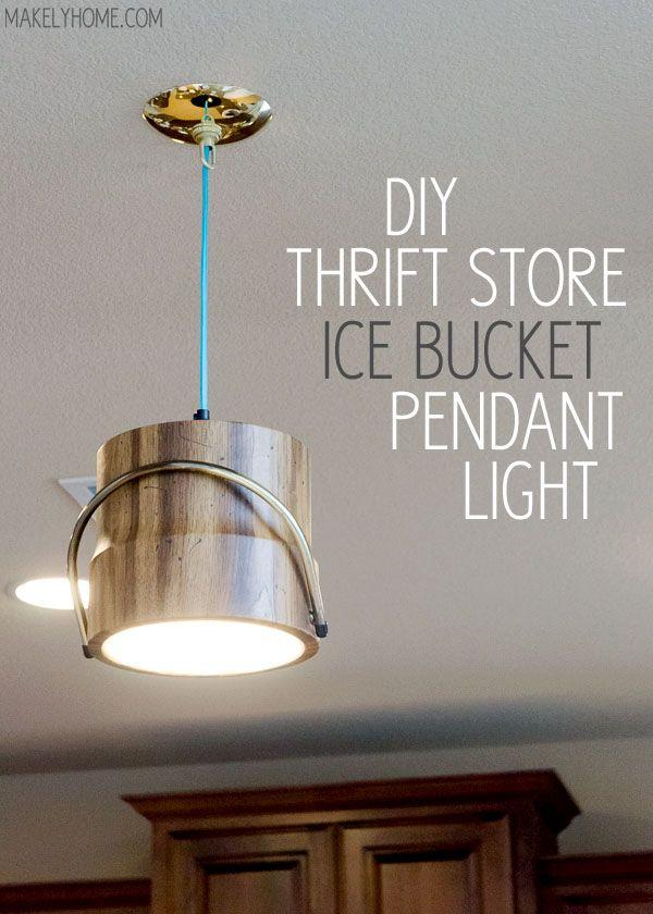 Thrift store ice bucket turned pendant light via MakelyHome.com