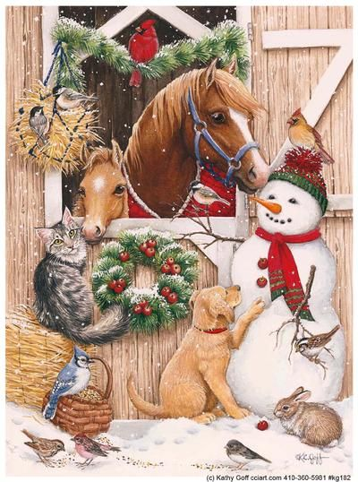 'Snowman with Barn Animals' by Kathy Goff