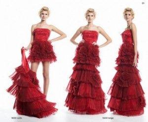 vestido 2 em 1 de debutante vermelho
