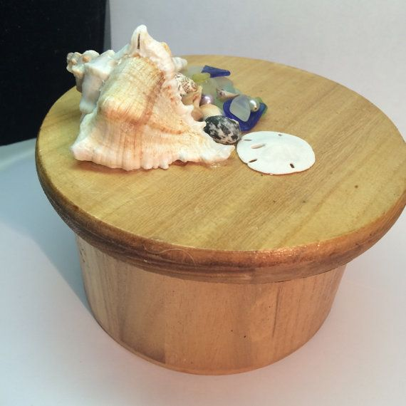 Mermaid Treasure Box ~ Handcrafted Round Wooden Box with Lid ~ Sea Glass Sea Shells Home Decor ~ Beach finds for Beach House Decorations