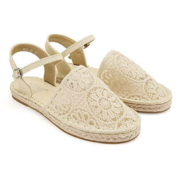 Yoins Lace Espadrilles (£23) ❤ liked on Polyvore featuring shoes, sandals, yoins, beige, lacy shoes, lace-up sandals, espadrille sandals, lace shoes and beige espadrilles