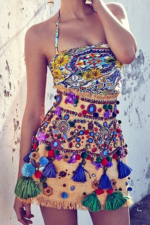 Make a high-waisted skirt and embellish it. (Then get high-wasted). Burning Man.