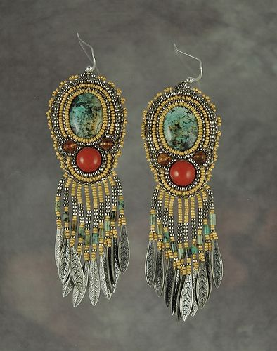 Turquoise and red jasper earrings  beadwork