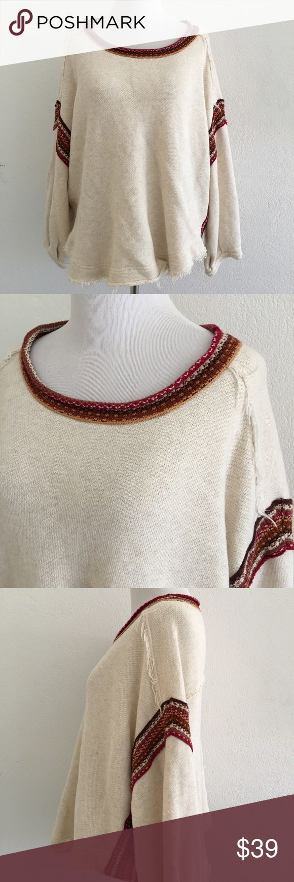 Free People Swing Poncho Aztec Blouse Size M Pre-owned authentic Free People Swing Poncho Aztec Blouse Size M. Long sleeve. Please look at pictures for better reference. Happy Shopping! Free People Tops Blouses