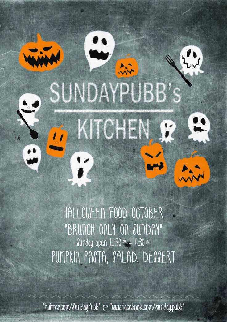 halloween kitchen illust poster brunch illust poster