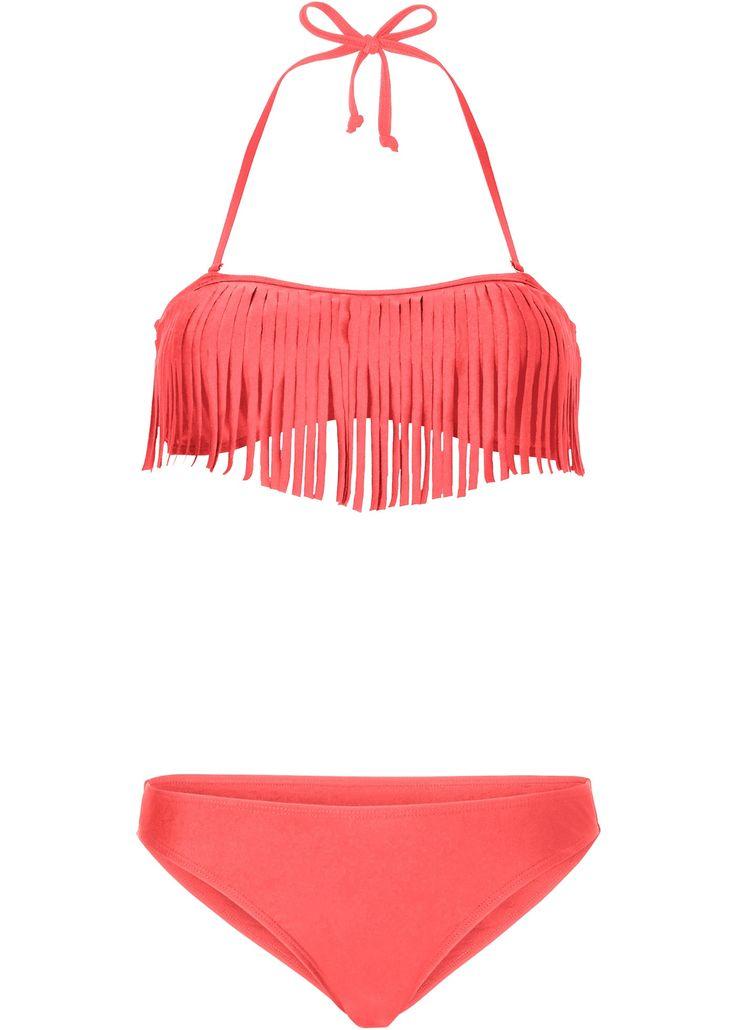 Bandeau-Bikini in orange mit Fransen und abnehmbaren Neckholderträgern. Herausnehmbare Softcups. Der Slip ist voll gefüttert. A + B Cup geeignet. #bikini