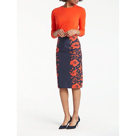39ba1aac4 Buy Boden Richmond Poppy Placement Pencil Skirt, Navy/Poppy Online at  johnlewis.com