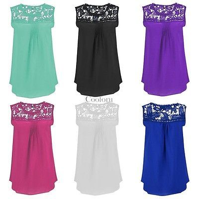 HOT Women Summer Lace Vest Top Sleeveless Blouse Casual Tank Tops T-Shirts New