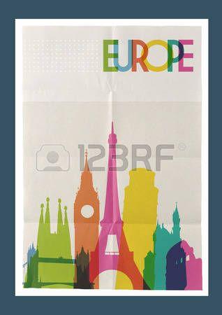 Путешествие Европа знаменитые достопримечательности Skyline на старинных листа бумаги плакат дизайн фона. photo