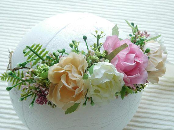 Peach Ivory & Pink Flower Crown  Peach and Eucalyptus Bridal