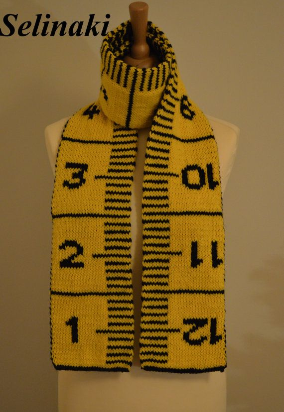 Knit Measuring Tape Scarf  Handmade by me with %100 Acrylic yarns  The scarf is double-sided and approximately 176 cm. (69 inches) long.  Ready to ship.  (Colors may appear differently in real life due to camera and monitor settings)  Thanks for looking and please contact me for any questions.