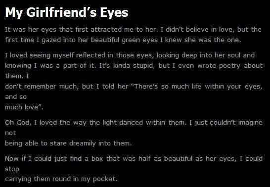 My girlfriend's eyes Wow... I did not expect that.. o.o lol
