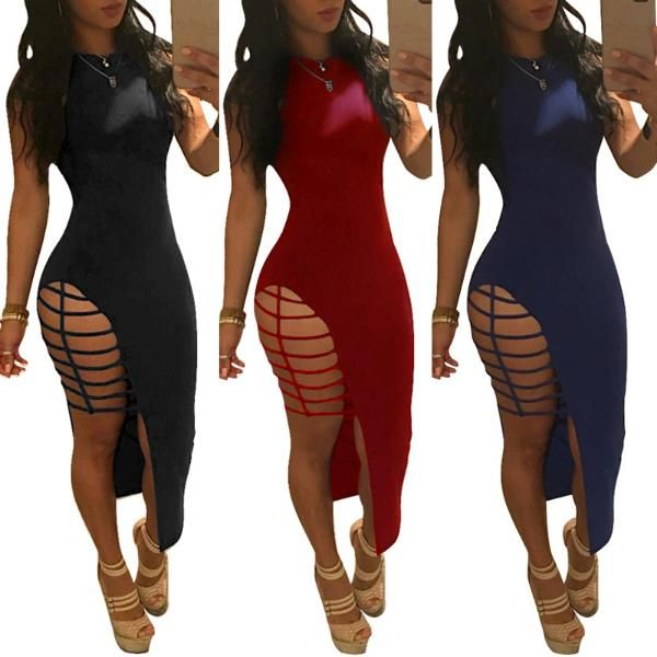 Sexy Sleeveless Caged Irregular Bodycon Dress