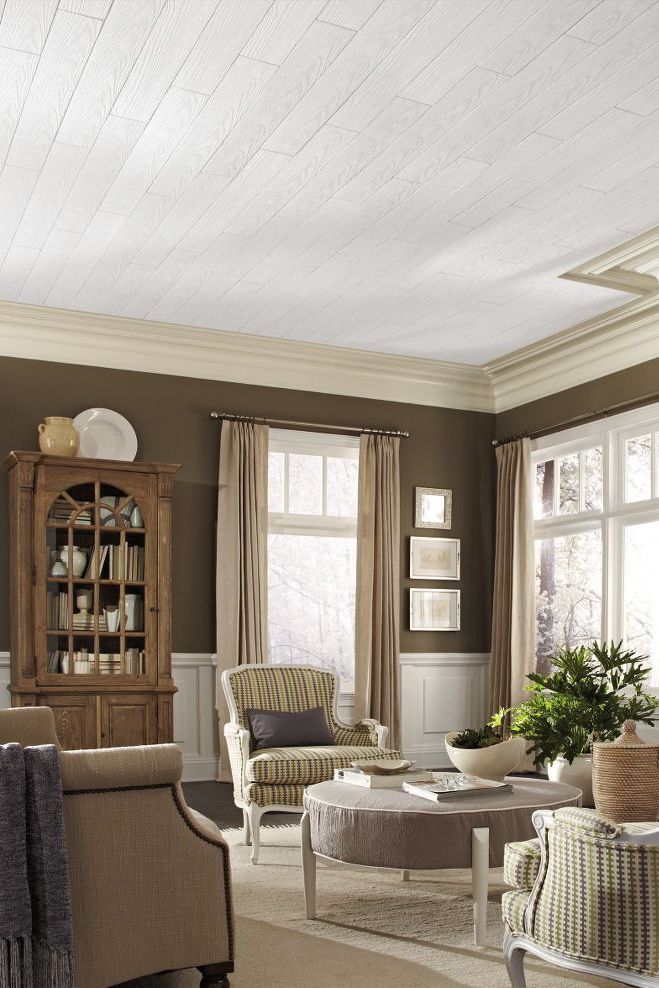 Country Classic Planks Are Easy To Install With A Spare Weekend And Some Elbow Grease This Traditional Armstrong Ceiling Traditional Living Room White Ceiling