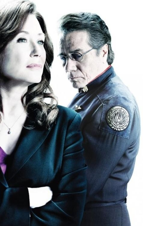 President Laura Roslin and Admiral William Adama from Battlestar Galactica. I can't watch the series finale of this show without crying. OH THE FEELS.