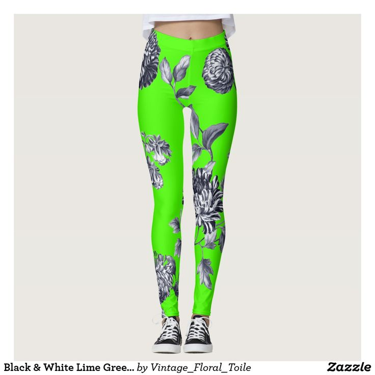 Black & White Lime Green Botanical Floral Toile