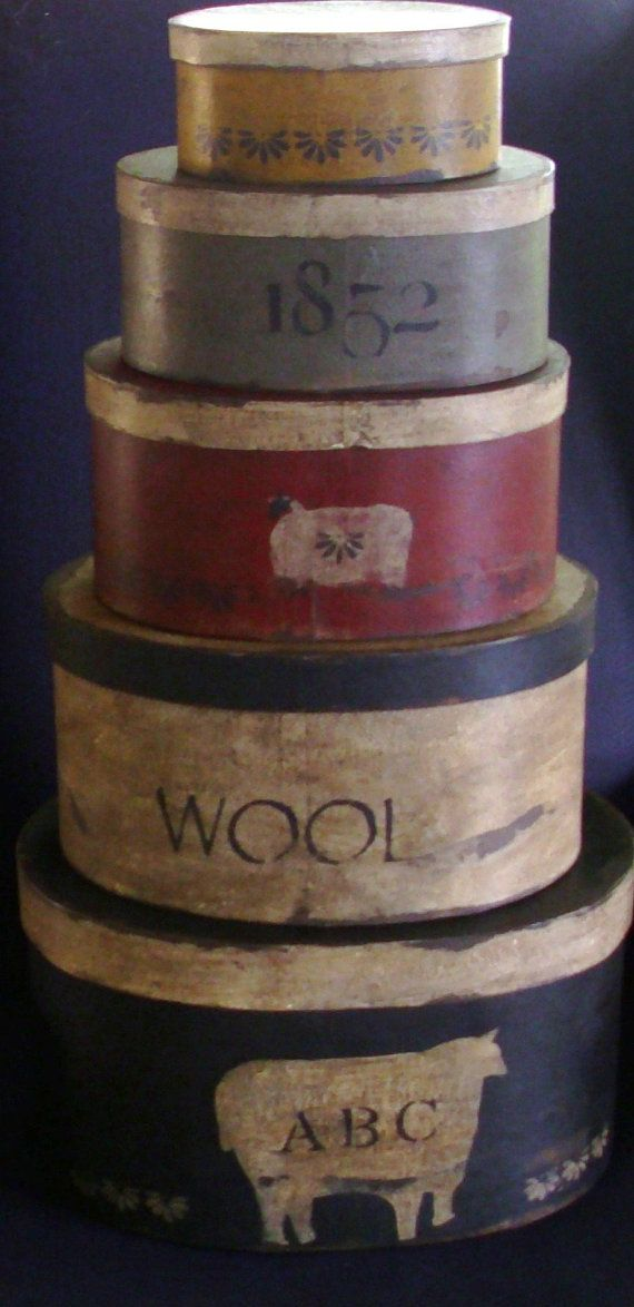 Paper Mache Primitive Sheep Wool Set of 5 by hanwaymillhouse, $125.00