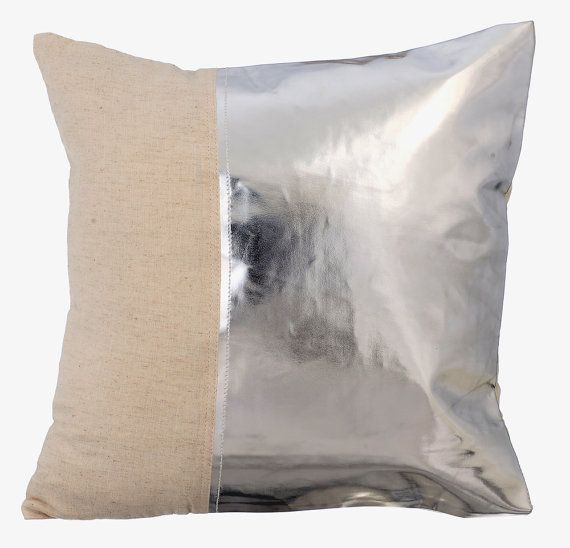 Better Half Silver - 16x16 Silver Metallic Faux Leather and natural linen Throw Pillow.